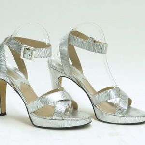 Michael Kors Sandal Silver Embossed Leather